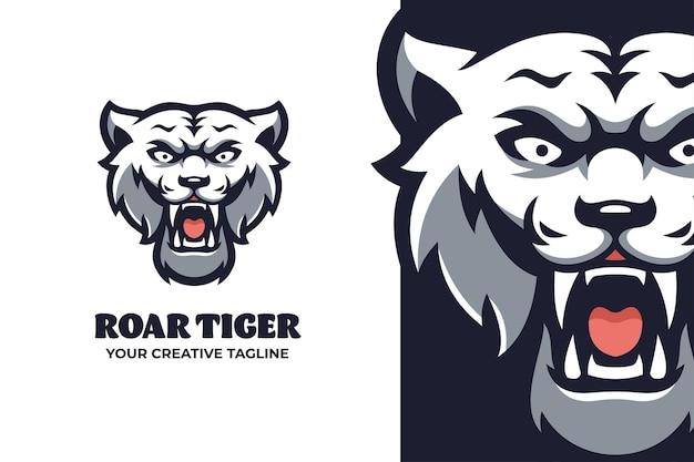 Logo de personnage mascotte tigre blanc sauvage