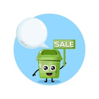 Logo de personnage de mascotte de vente de boîte à ordures