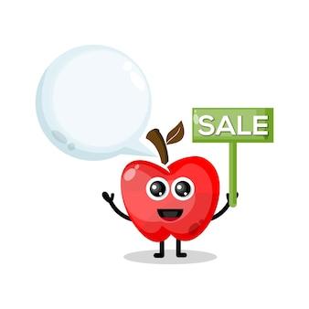 Logo de personnage de mascotte de vente de pomme