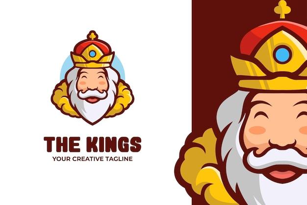 Logo de personnage de mascotte de vieux roi
