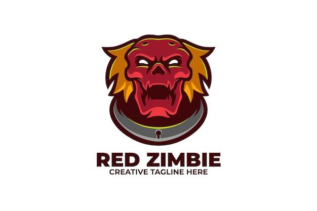 Logo de personnage mascotte zombie rouge