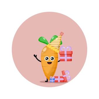 Logo de personnage mignon anniversaire carotte