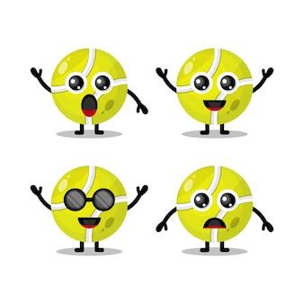 Logo de personnage mignon balle de tennis
