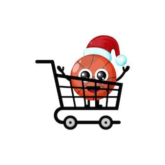 Logo de personnage mignon de basket-ball shopping de noël