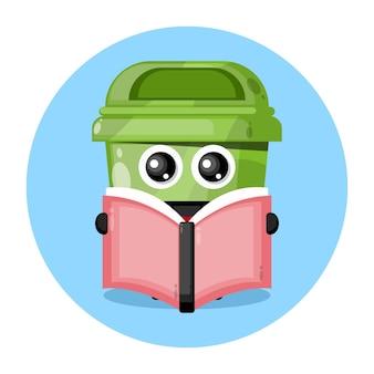 Logo de personnage mignon de boîte à ordures de livre