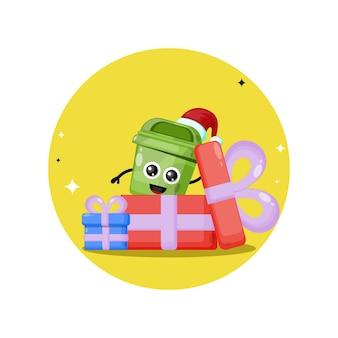 Logo de personnage mignon de boîte de poubelle de cadeau de noël