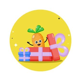 Logo de personnage mignon cadeau carotte