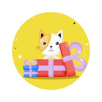 Logo de personnage mignon cadeau chat