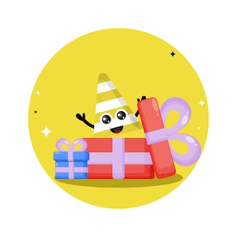 Logo de personnage mignon cadeau cône de signalisation