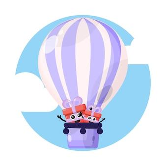 Logo de personnage mignon cadeau montgolfière