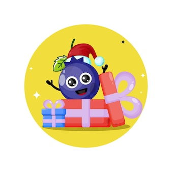 Logo de personnage mignon de cadeau de noël de myrtille