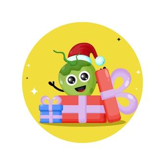 Logo de personnage mignon de cadeau de noix de coco de noël