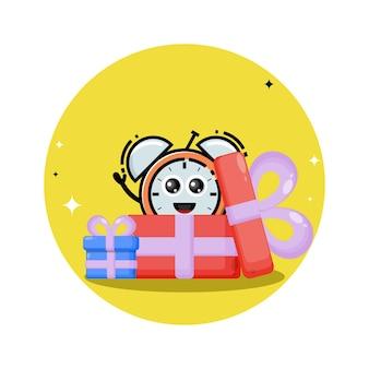 Logo de personnage mignon cadeau réveil