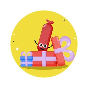 Logo de personnage mignon cadeau saucisse