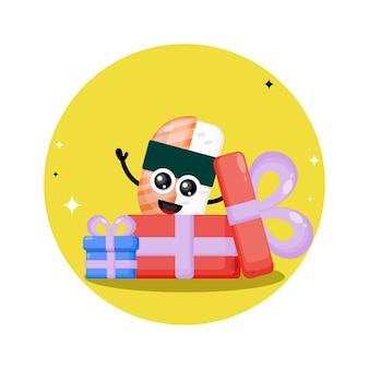 Logo de personnage mignon cadeau sushi