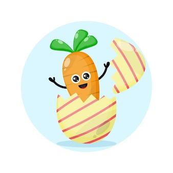 Logo de personnage mignon de carotte d'oeuf de pâques