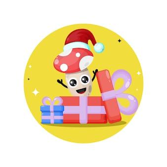 Logo de personnage mignon champignon cadeau de noël