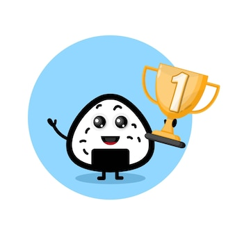 Logo de personnage mignon champion du trophée onigiri