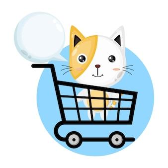 Logo de personnage mignon chat chariot à provisions