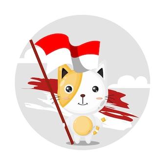 Logo de personnage mignon chat drapeau indonésien