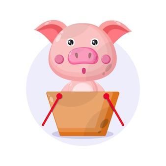 Logo de personnage mignon de cochon de panier d'achat