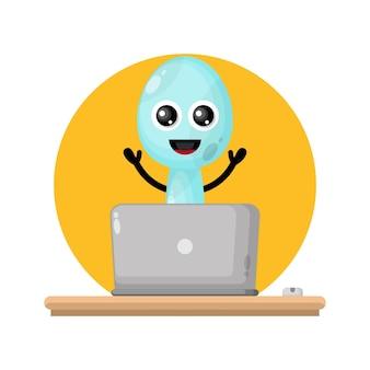 Logo de personnage mignon cuillère pour ordinateur portable