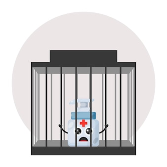 Logo de personnage mignon de désinfectant pour les mains de prison