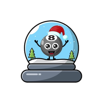 Logo de personnage mignon dôme de boule de billard