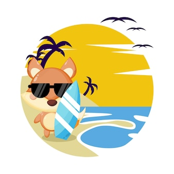 Logo de personnage mignon d'été de plage de renard