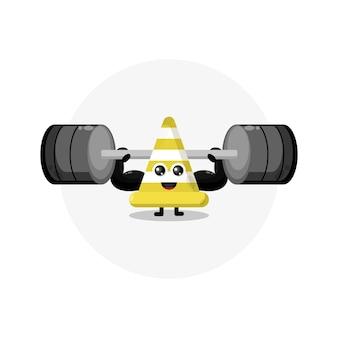 Logo de personnage mignon fitness cône de circulation