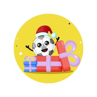 Logo de personnage mignon de football de cadeau de noël