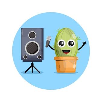 Logo de personnage mignon karaoké cactus