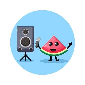Logo de personnage mignon karaoké pastèque