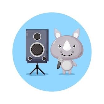 Logo de personnage mignon karaoké rhino