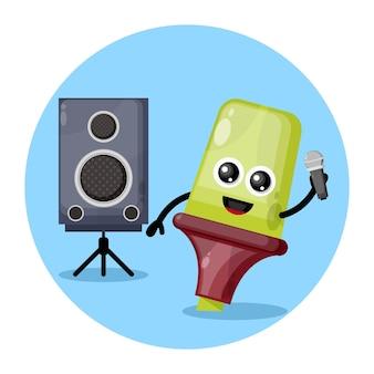 Logo de personnage mignon karaoké surligneur