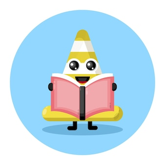 Logo de personnage mignon livre cône de circulation
