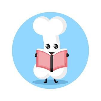 Logo de personnage mignon de livre de lecture d'os