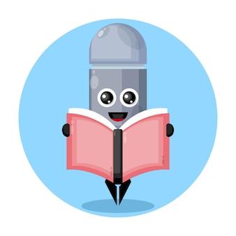 Logo de personnage mignon de livre de lecture de stylo
