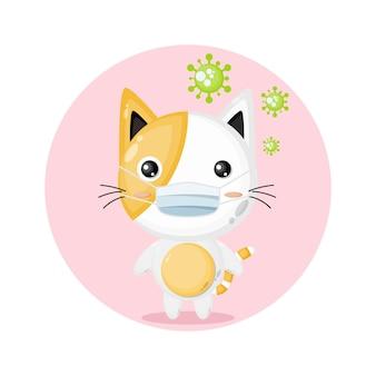 Logo de personnage mignon de masque de virus de chat