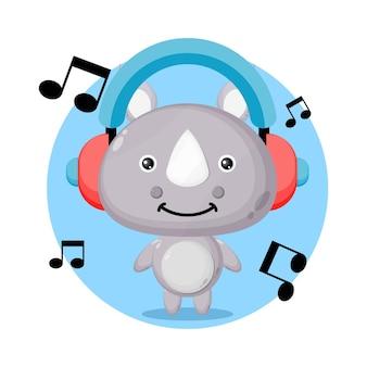 Logo de personnage mignon musique rhinocéros