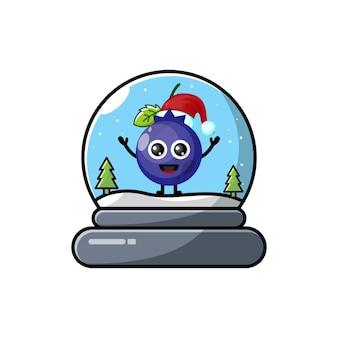 Logo de personnage mignon noël dôme en verre de myrtille