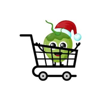 Logo de personnage mignon de noël de noix de coco d'achats