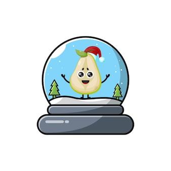 Logo de personnage mignon noël poire dôme