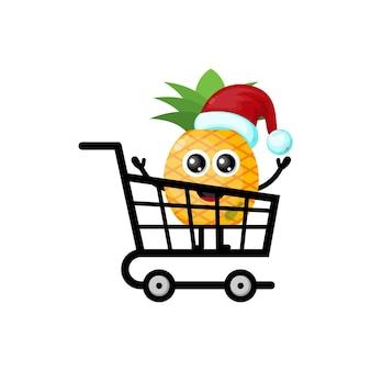 Logo de personnage mignon de noël shopping ananas