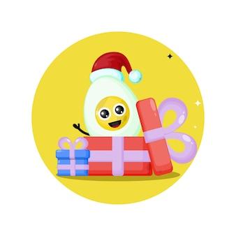Logo de personnage mignon oeuf de cadeau de noël