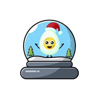 Logo de personnage mignon d'oeuf de dôme de noël
