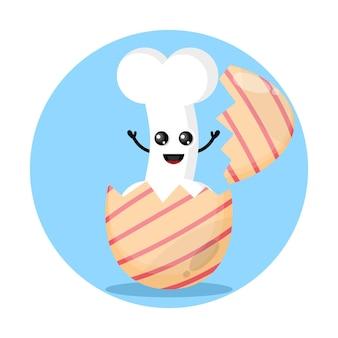 Logo de personnage mignon d'os d'oeuf de pâques