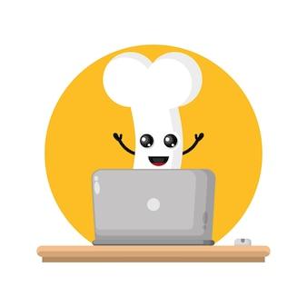 Logo de personnage mignon d'os d'ordinateur portable