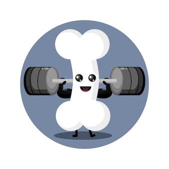 Logo de personnage mignon d'os de remise en forme