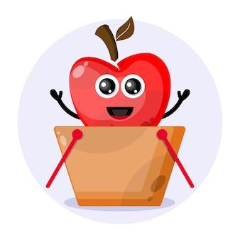 Logo de personnage mignon de panier d'achat d'apple